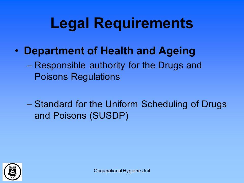 Occupational Hygiene Unit Which Dangerous Goods/Hazardous Substances require a risk assessment.