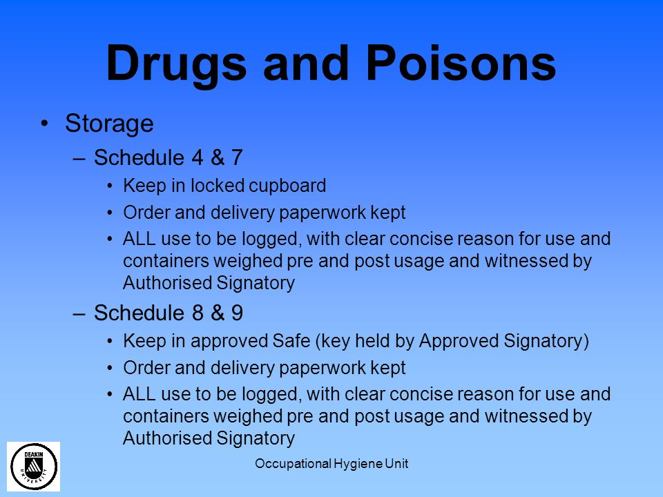 Occupational Hygiene Unit Dilute Solutions Corrosive –If pH of solution is less than 2 or greater than 11.5 solution is corrosive –If pH is between 2 and 11.5 then it is no longer classified as corrosive –Strong acids and bases diluted below 0.01M are no longer corrosive