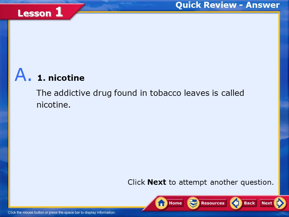 Lesson 1 Choose the appropriate option. 1.nicotine 2.tar 3.carcinogen 4.leukoplakia Q.