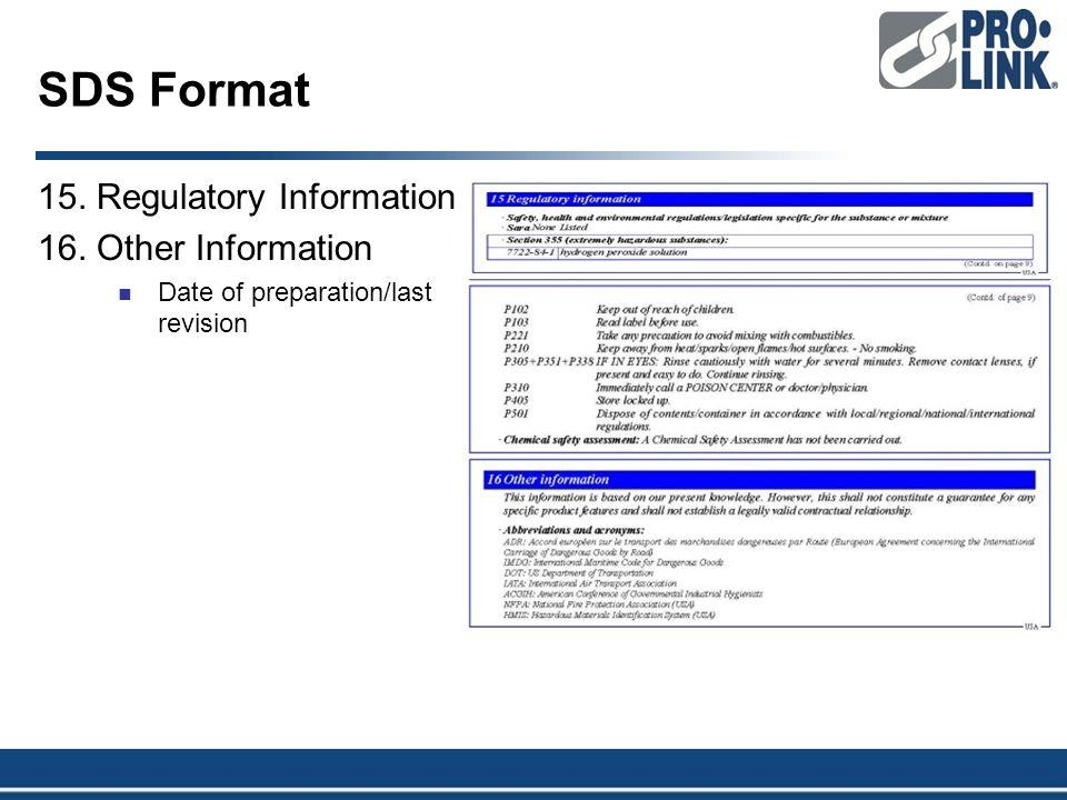SDS Format 15. Regulatory Information 16. Other Information Date of preparation/last revision