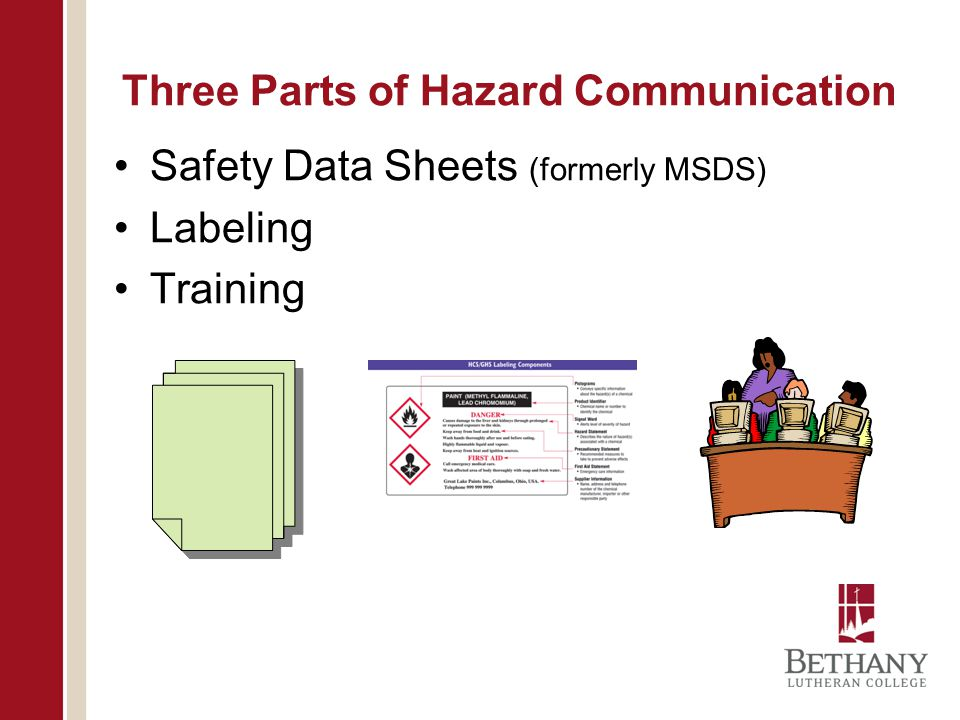 Three Parts of Hazard Communication Safety Data Sheets (formerly MSDS) Labeling Training