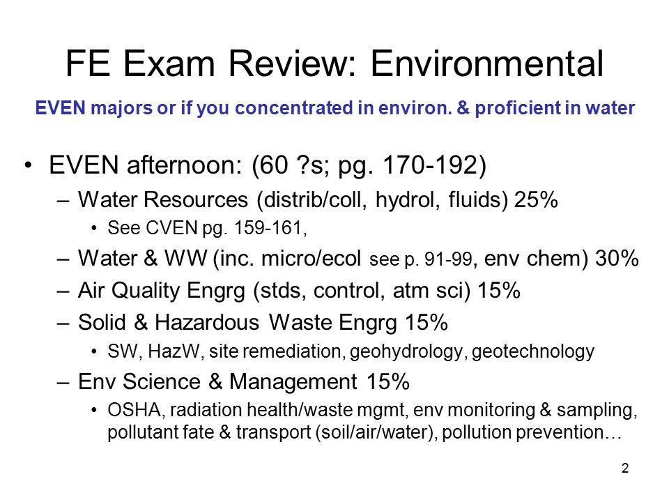 2 FE Exam Review: Environmental EVEN afternoon: (60 s; pg.