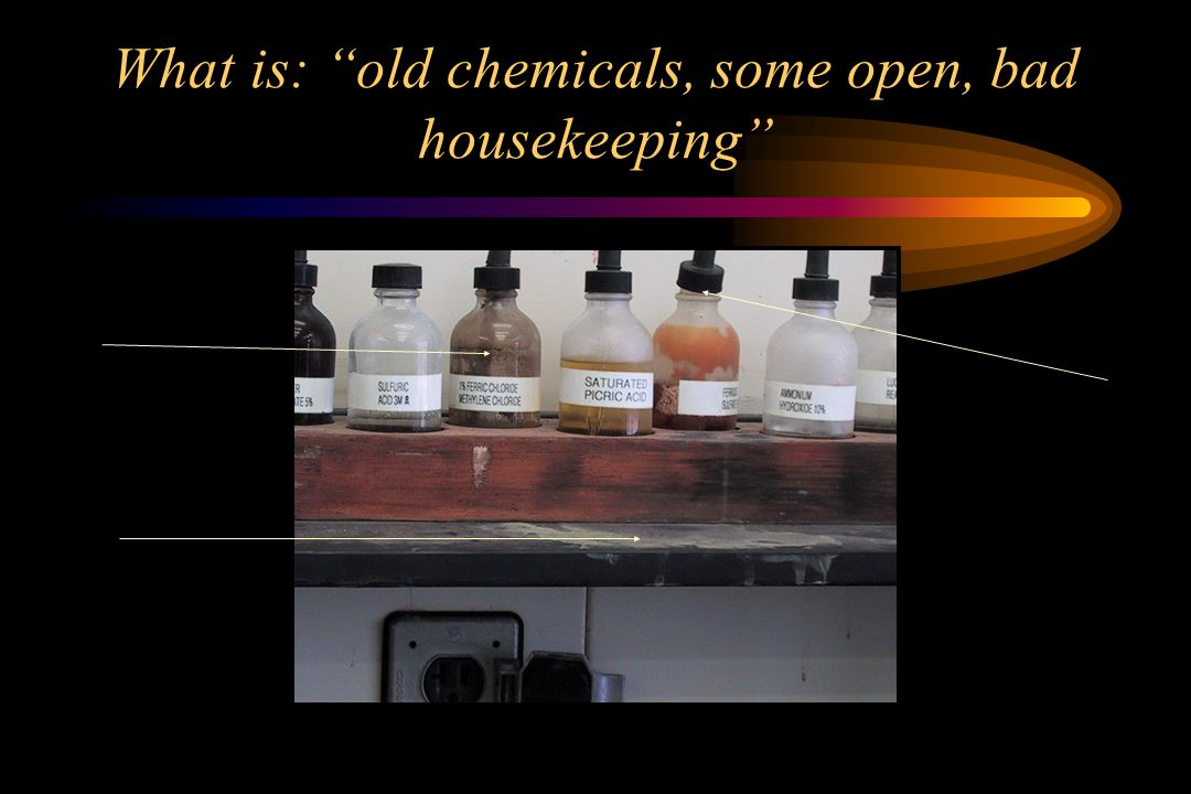 What is: old chemicals, some open, bad housekeeping