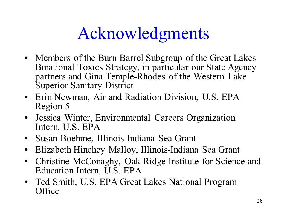 28 Acknowledgments Members of the Burn Barrel Subgroup of the Great Lakes Binational Toxics Strategy, in particular our State Agency partners and Gina Temple-Rhodes of the Western Lake Superior Sanitary District Erin Newman, Air and Radiation Division, U.S.
