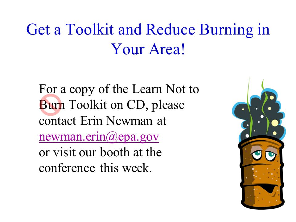 30 Get a Toolkit and Reduce Burning in Your Area.
