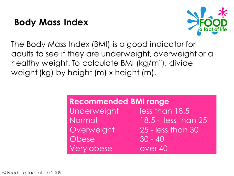© Food – a fact of life 2009 Body Mass Index The Body Mass Index (BMI) is a good indicator for adults to see if they are underweight, overweight or a healthy weight.