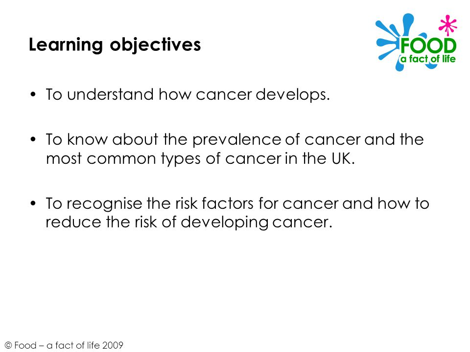 © Food – a fact of life 2009 Learning objectives To understand how cancer develops.