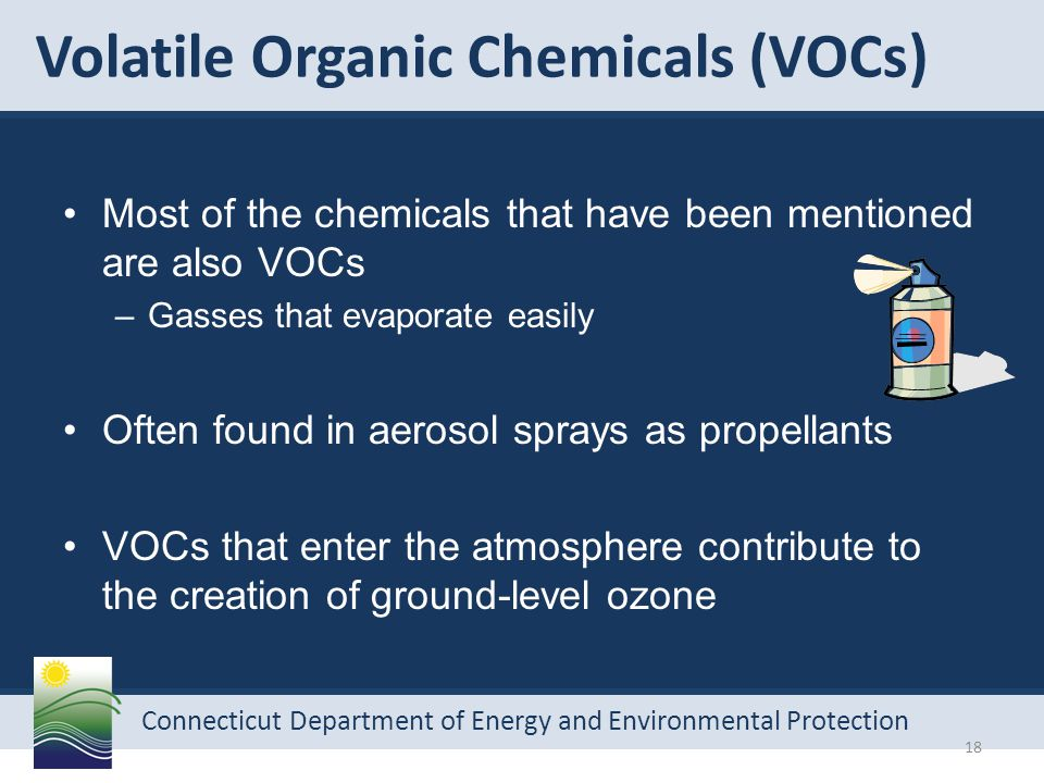 Connecticut Department of Energy and Environmental Protection Volatile Organic Chemicals (VOCs) Most of the chemicals that have been mentioned are also VOCs –Gasses that evaporate easily Often found in aerosol sprays as propellants VOCs that enter the atmosphere contribute to the creation of ground-level ozone 18