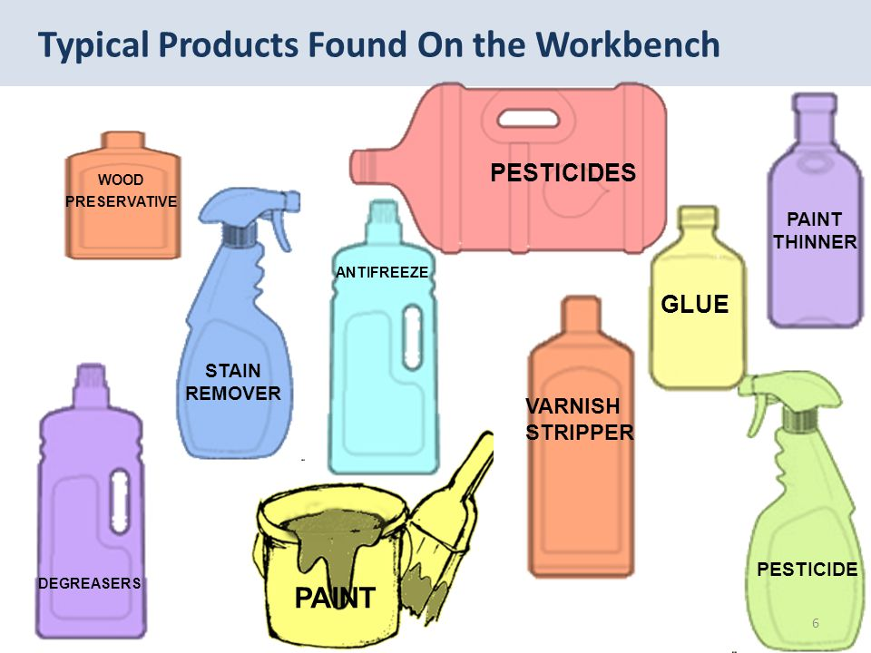 Typical Products Found On the Workbench ANTIFREEZE GLUE VARNISH STRIPPER DEGREASERS STAIN REMOVER PESTICIDES PESTICIDE PAINT THINNER WOOD PRESERVATIVE 6