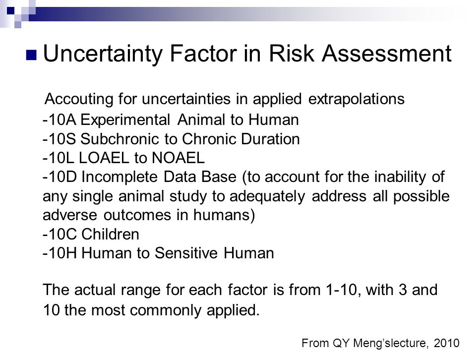Uncertainty Factor in Risk Assessment Accouting for uncertainties in applied extrapolations -10A Experimental Animal to Human -10S Subchronic to Chronic Duration -10L LOAEL to NOAEL -10D Incomplete Data Base (to account for the inability of any single animal study to adequately address all possible adverse outcomes in humans) -10C Children -10H Human to Sensitive Human The actual range for each factor is from 1-10, with 3 and 10 the most commonly applied.