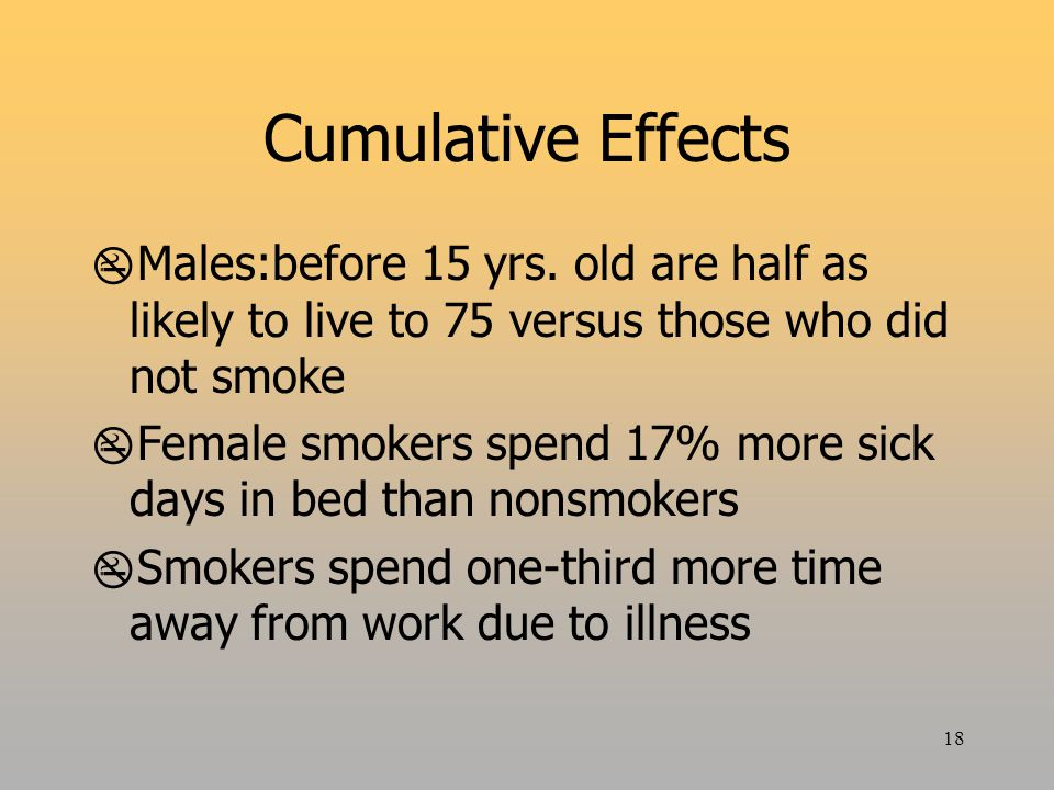18 Cumulative Effects  Males:before 15 yrs.