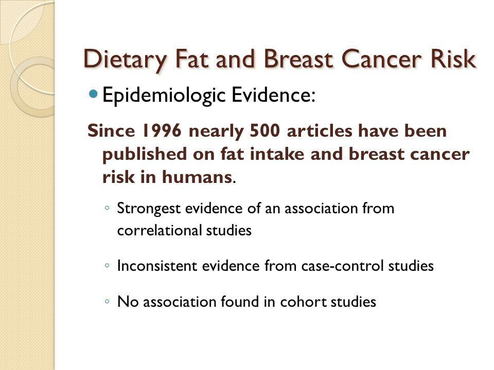 Dietary Fat and Breast Cancer Risk Epidemiologic Evidence: Since 1996 nearly 500 articles have been published on fat intake and breast cancer risk in humans.