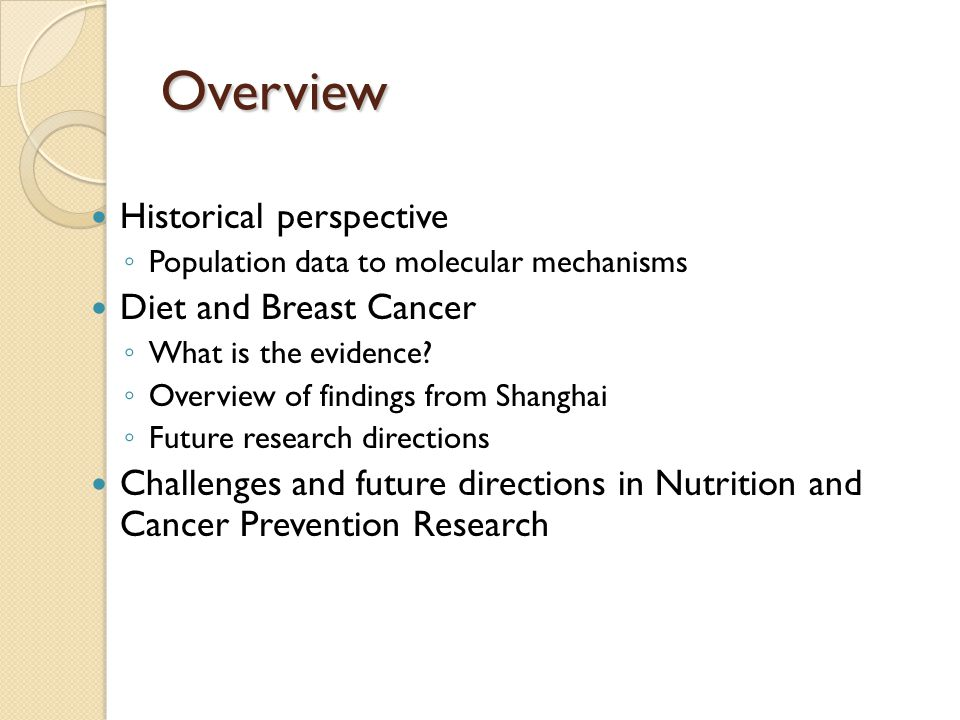 Overview Historical perspective ◦ Population data to molecular mechanisms Diet and Breast Cancer ◦ What is the evidence.