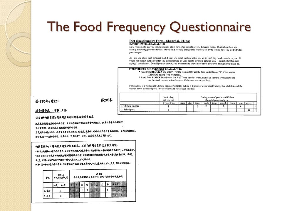 The Food Frequency Questionnaire