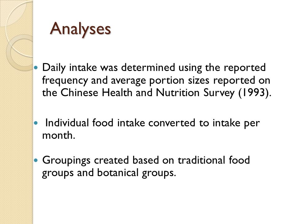Analyses Daily intake was determined using the reported frequency and average portion sizes reported on the Chinese Health and Nutrition Survey (1993)