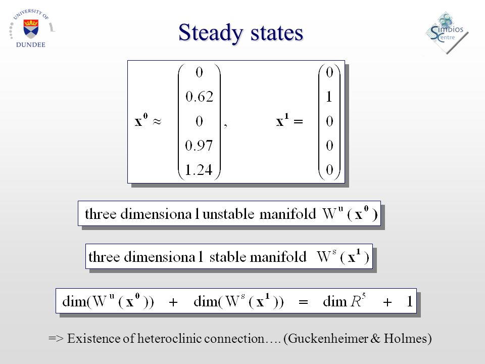 Steady states => Existence of heteroclinic connection…. (Guckenheimer & Holmes)