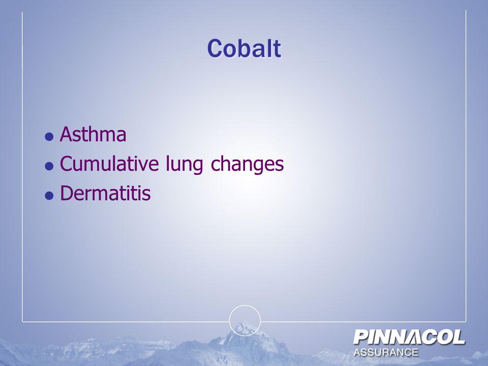 Cobalt  Asthma  Cumulative lung changes  Dermatitis