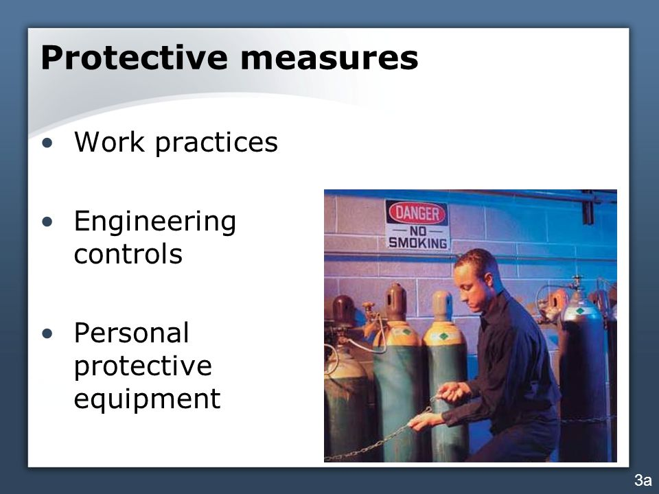 Protective measures Work practices Engineering controls Personal protective equipment 3a