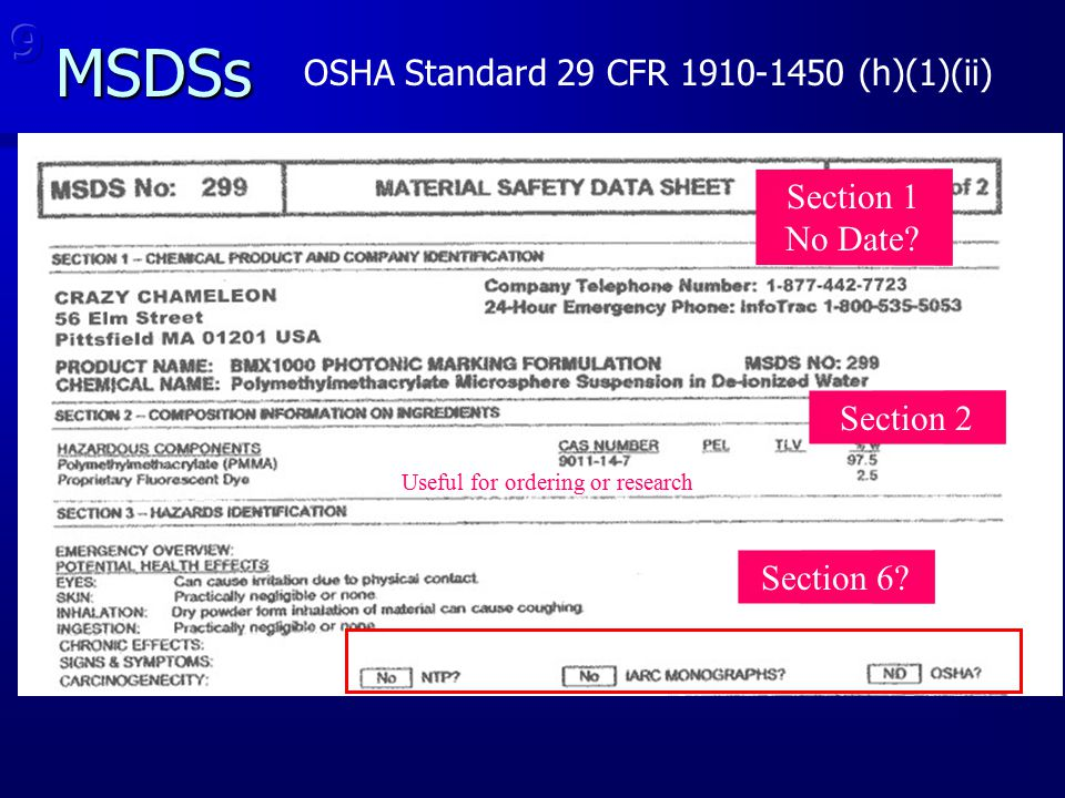 MSDSs Section 1 No Date? Useful for ordering or research Section 6? Section 2
