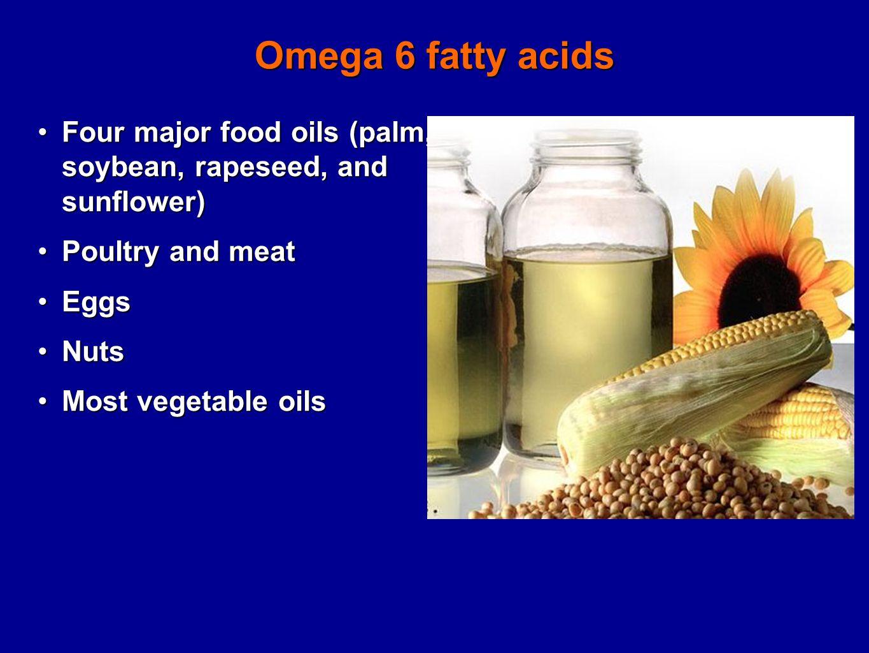 Omega 6 fatty acids Four major food oils (palm, soybean, rapeseed, and sunflower)Four major food oils (palm, soybean, rapeseed, and sunflower) Poultry