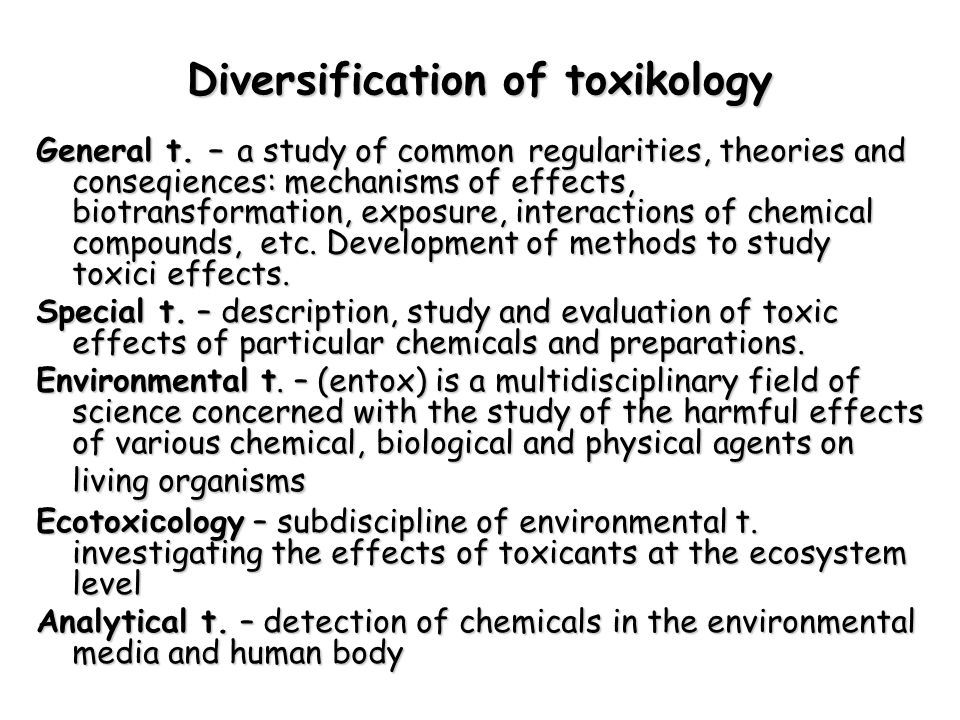 Diversification of toxikology General t.