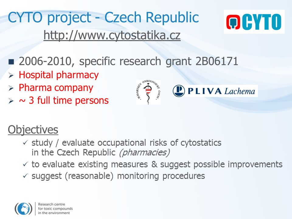 Cyclophosphamide – two sampling campaigns 15 pharmacies (Czech Rep.) [pg/cm2] Table Floor Fridge Table Floor Storage Preparation RESULTS – surfaces contamination