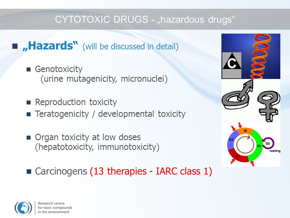 """""""Hazards (will be discussed in detail) Genotoxicity (urine mutagenicity, micronuclei) Reproduction toxicity Teratogenicity / developmental toxicity Organ toxicity at low doses (hepatotoxicity, immunotoxicity) Carcinogens (13 therapies - IARC class 1) CYTOTOXIC DRUGS - """"hazardous drugs"""