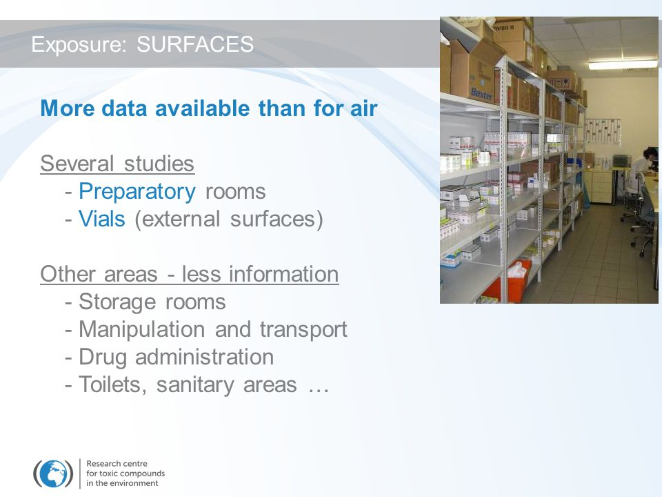 More data available than for air Several studies - Preparatory rooms - Vials (external surfaces) Other areas - less information - Storage rooms - Manipulation and transport - Drug administration - Toilets, sanitary areas … Exposure: SURFACES