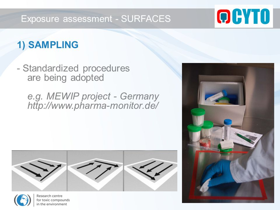 1) SAMPLING - Standardized procedures are being adopted e.g. MEWIP project - Germany http://www.pharma-monitor.de/ Exposure assessment - SURFACES
