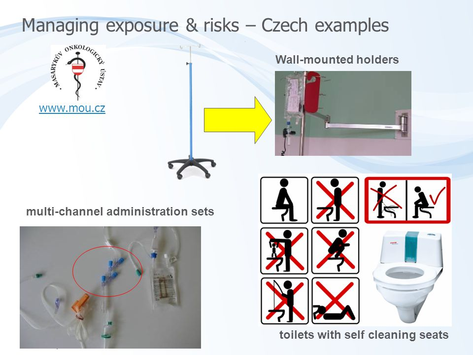 Managing exposure & risks – Czech examples Wall-mounted holders multi-channel administration sets toilets with self cleaning seats www.mou.cz