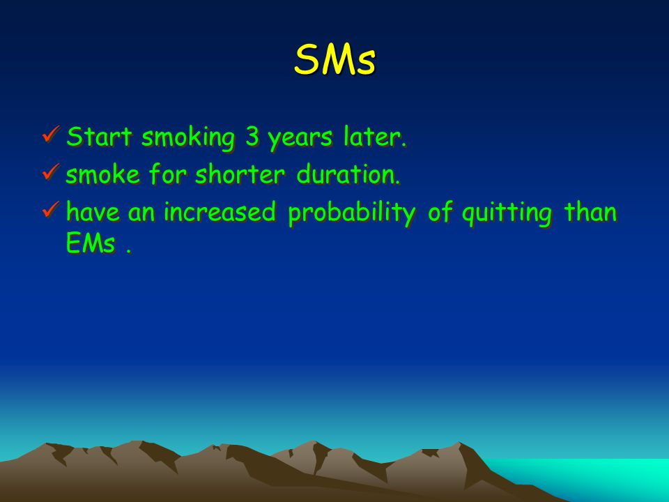 The number of cigarettes smoked and other smoking indices  SMs Fewer cigarettes/day lower CO breath conc.