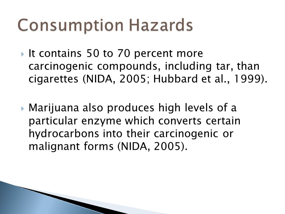  It contains 50 to 70 percent more carcinogenic compounds, including tar, than cigarettes (NIDA, 2005; Hubbard et al., 1999).  Marijuana also produc
