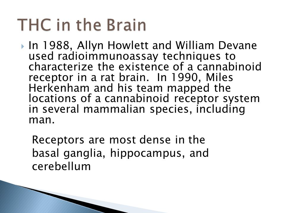  In 1988, Allyn Howlett and William Devane used radioimmunoassay techniques to characterize the existence of a cannabinoid receptor in a rat brain.