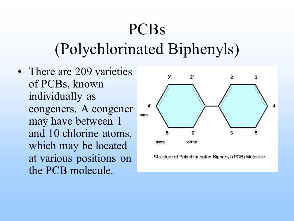 PCBs (Polychlorinated Biphenyls) There are 209 varieties of PCBs, known individually as congeners. A congener may have between 1 and 10 chlorine atoms