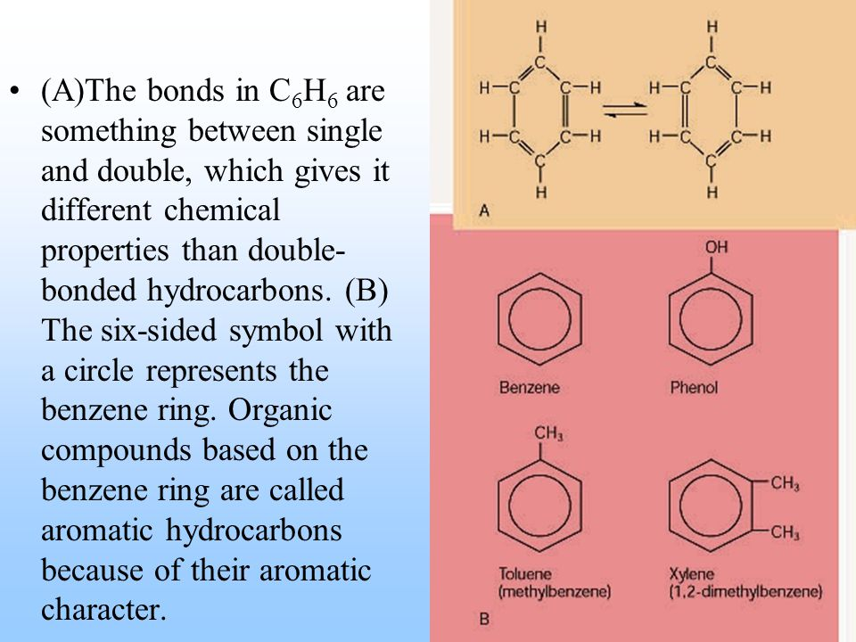 (A)The bonds in C 6 H 6 are something between single and double, which gives it different chemical properties than double- bonded hydrocarbons.