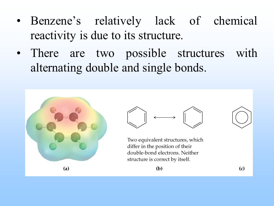 Benzene's relatively lack of chemical reactivity is due to its structure. There are two possible structures with alternating double and single bonds.