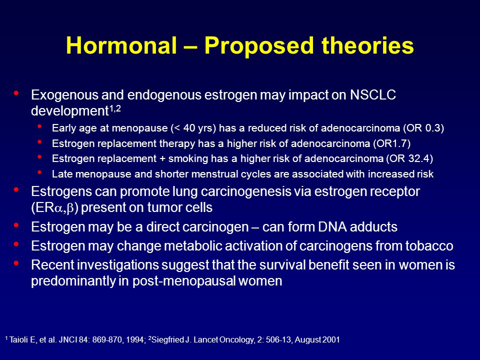 Hormonal – Proposed theories Exogenous and endogenous estrogen may impact on NSCLC development 1,2 Early age at menopause (< 40 yrs) has a reduced risk of adenocarcinoma (OR 0.3) Estrogen replacement therapy has a higher risk of adenocarcinoma (OR1.7) Estrogen replacement + smoking has a higher risk of adenocarcinoma (OR 32.4) Late menopause and shorter menstrual cycles are associated with increased risk Estrogens can promote lung carcinogenesis via estrogen receptor (ER  ) present on tumor cells Estrogen may be a direct carcinogen – can form DNA adducts Estrogen may change metabolic activation of carcinogens from tobacco Recent investigations suggest that the survival benefit seen in women is predominantly in post-menopausal women 1 Taioli E, et al.