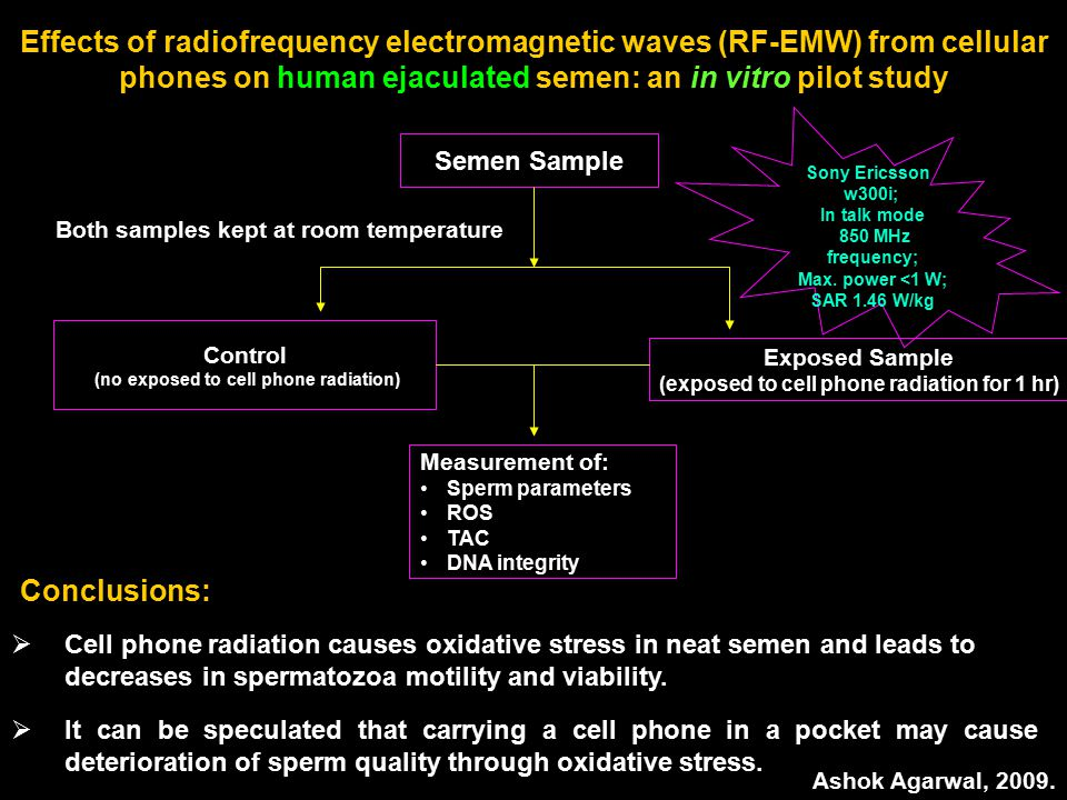 Effects of radiofrequency electromagnetic waves (RF-EMW) from cellular phones on human ejaculated semen: an in vitro pilot study Semen Sample Measurement of: Sperm parameters ROS TAC DNA integrity Control (no exposed to cell phone radiation) Exposed Sample (exposed to cell phone radiation for 1 hr) Sony Ericsson w300i; In talk mode 850 MHz frequency; Max.