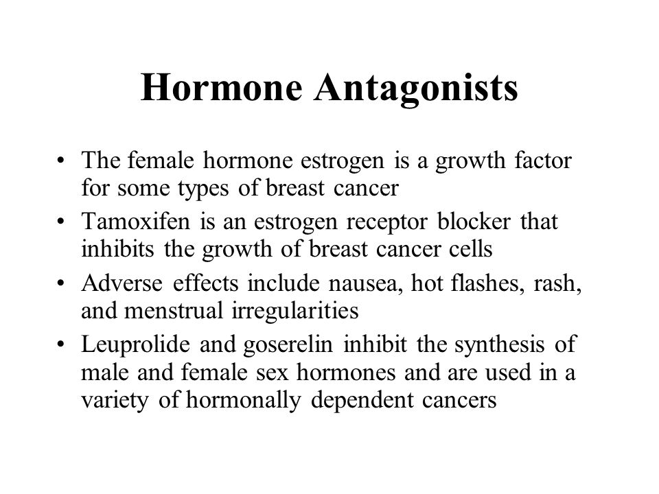 Hormone Antagonists The female hormone estrogen is a growth factor for some types of breast cancer Tamoxifen is an estrogen receptor blocker that inhibits the growth of breast cancer cells Adverse effects include nausea, hot flashes, rash, and menstrual irregularities Leuprolide and goserelin inhibit the synthesis of male and female sex hormones and are used in a variety of hormonally dependent cancers