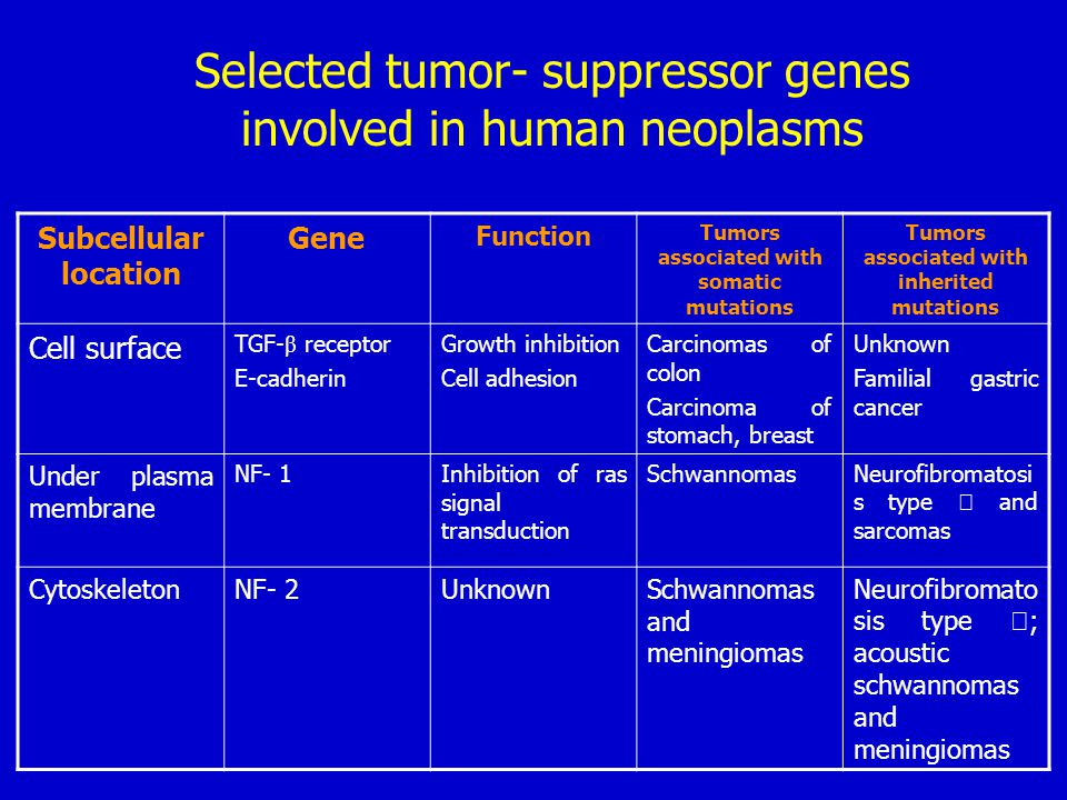 Selected tumor- suppressor genes involved in human neoplasms Subcellular location Gene Function Tumors associated with somatic mutations Tumors associ