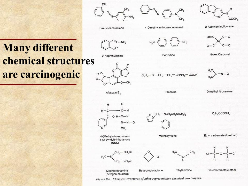 Many different chemical structures are carcinogenic