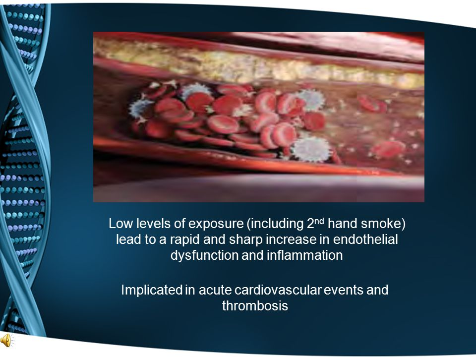 Low levels of exposure (including 2 nd hand smoke) lead to a rapid and sharp increase in endothelial dysfunction and inflammation Implicated in acute
