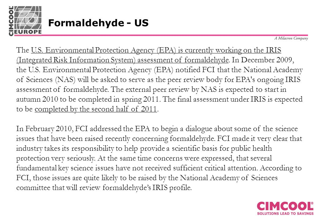 Formaldehyde - US The U.S.