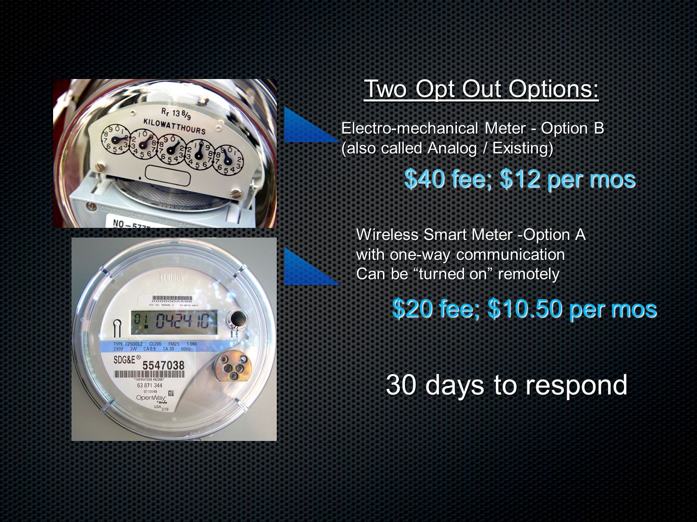 Two Opt Out Options: Wireless Smart Meter -Option A with one-way communication Can be turned on remotely Electro-mechanical Meter - Option B (also called Analog / Existing) $40 fee; $12 per mos $20 fee; $10.50 per mos 30 days to respond