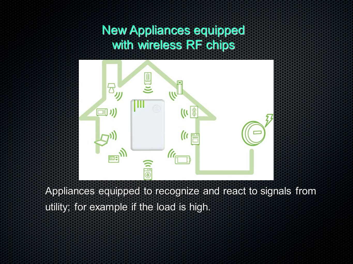 New Appliances equipped with wireless RF chips Appliances equipped to recognize and react to signals from utility; for example if the load is high.