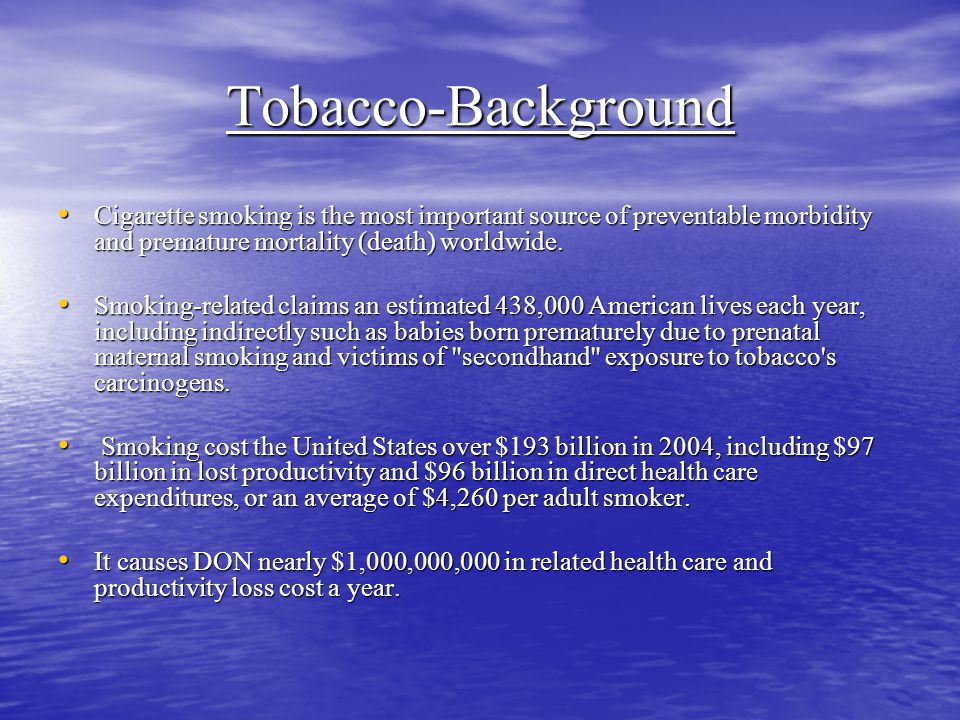 Tobacco-Background Cigarette smoking is the most important source of preventable morbidity and premature mortality (death) worldwide.