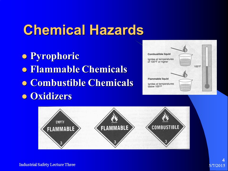 5/7/2015 Industrial Safety Lecture Three 64 Chemical Spill Response CFR 1910.120 Hazardous Waste Operations and Response Standard (HAZWOPER) Option #1-Evacuate employees and call in professional emergency response personnel.