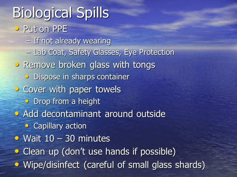 Biological Spills Put on PPE Put on PPE –If not already wearing –Lab Coat, Safety Glasses, Eye Protection Remove broken glass with tongs Remove broken glass with tongs Dispose in sharps container Dispose in sharps container Cover with paper towels Cover with paper towels Drop from a height Drop from a height Add decontaminant around outside Add decontaminant around outside Capillary action Capillary action Wait 10 – 30 minutes Wait 10 – 30 minutes Clean up (don't use hands if possible) Clean up (don't use hands if possible) Wipe/disinfect (careful of small glass shards) Wipe/disinfect (careful of small glass shards)