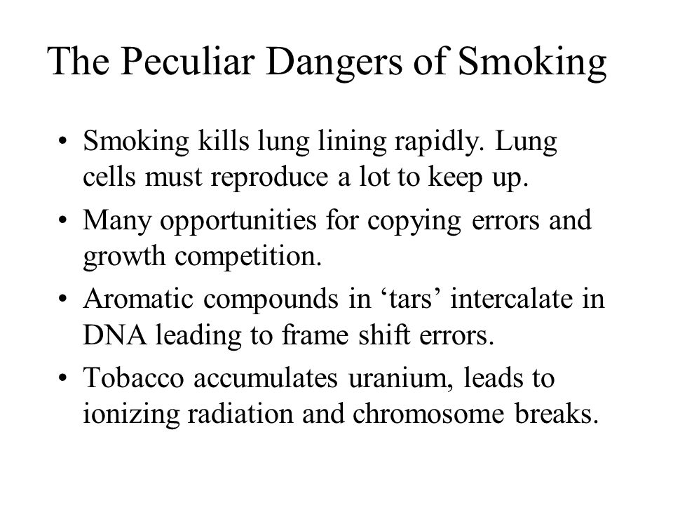 The Peculiar Dangers of Smoking Smoking kills lung lining rapidly.