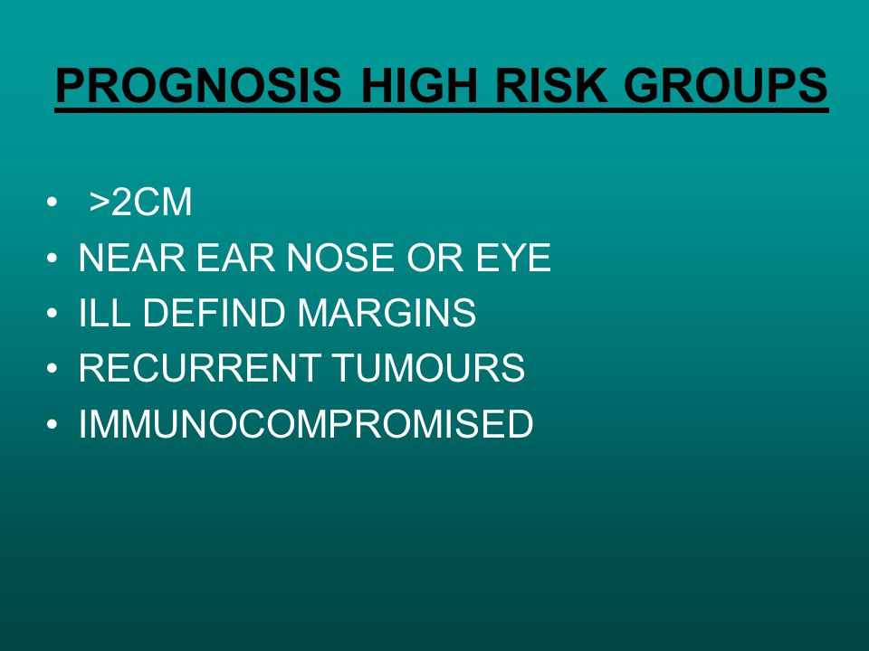 PROGNOSIS HIGH RISK GROUPS >2CM NEAR EAR NOSE OR EYE ILL DEFIND MARGINS RECURRENT TUMOURS IMMUNOCOMPROMISED